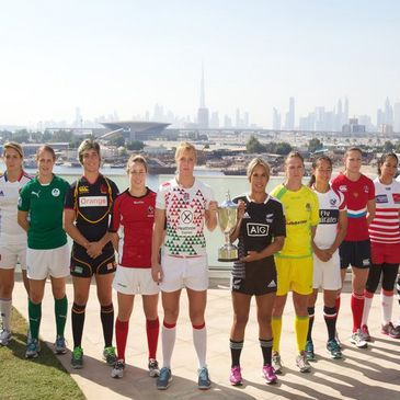 Ireland's Shannon Houston with the other captains in Dubai