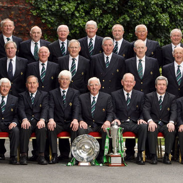 Members of the IRFU Committee pose with the RBS 6 Nations trophy and the Triple Crown