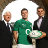 Ireland captain Brian O'Driscoll is pictured with IRFU President John Hussey and Stephen Shurrock, Chief Executive of Telefónica Ireland, which operates the O2 brand in the Irish marketplace