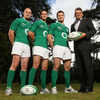 Jonathan Sexton, who kicked two penalties against Scotland, is flanked by team-mates Jonathan Sexton and Brian O'Driscoll and Telefónica Ireland Chief Executive Stephen Shurrock