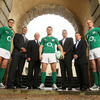 The Ireland players were joined at today's announcement by the IRFU's Philip Browne and John Hussey and O2 representatives Stephen Shurrock and Jonnie Cahill