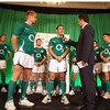 RTE's Shane O'Donoghue was the MC for the launch. Here he is pictured interviewing Luke Fitzgerald and Paddy Wallace