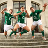Paddy Wallace, David Wallace and Gordon D'Arcy get up to some high jinks during Tuesday's launch of the new PUMA kit