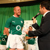 Paul O'Connell struggles to control his laughter enjoying a lighter moment at the launch of the jersey