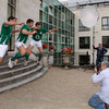 Paddy Wallace, David Wallace and Gordon D'Arcy jump for the photographers during the shoot