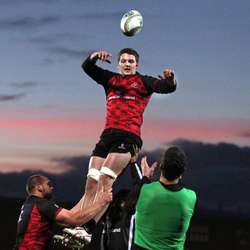 Iain Henderson claims a lineout ball during training