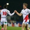Out-half Ian Humphreys is congratulates by Andrew Trimble after scoring Ulster's second try against the Italians