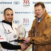 Bank of Ireland's John Barclay is pictured presenting the man-of-the-match award to Ulster's Ian Humphreys