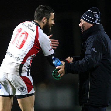 Leinster bagman Johnny O'Hagan congratulates Ulster's Ian Humphreys