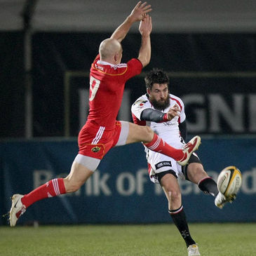 Ulster out-half Ian Humphreys kicks clear against Munster