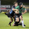 Connacht out-half Ian Keatley, who kicked the match-winning penalty, is tackled by Glasgow's Canadian winger DTH van der Merwe