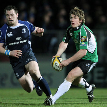 Leinster's Cian Healy tracks Connacht out-half Ian Keatley