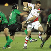 Ulster out-half Paddy Wallace looks to get by his opposite number, Connacht's Ian Keatley, at the Sportsground