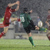 Munster scrum half Peter Stringer gets airborne as he tries to block a clearance kick from Connacht out-half Ian Keatley