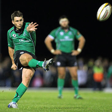 Connacht out-half Ian Keatley kicks for goal