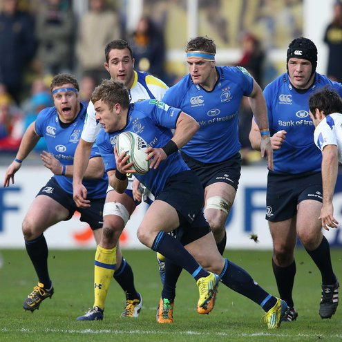 Ian Madigan is pictured in possession against Clermont
