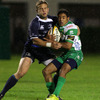 Leinster out-half Ian Madigan and Benetton Treviso's Brendan Williams grimace as they compete for possession at Stadio di Monigo