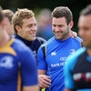 Backs Ian Madigan and Fergus McFadden share a joke before knuckling down to prepare for the visit of the Dragons to the RDS