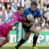 Ian Madigan, who played at full-back in place of the injured Rob Kearney, is caught in possession by Exeter's Matt Jess