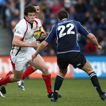 Ulster centre Ian Whitten takes on Leinster's Jonathan Sexton