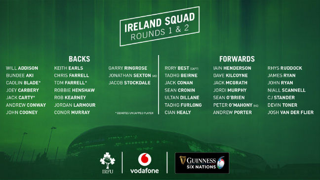 The Ireland squad for the Guinness Six Nations