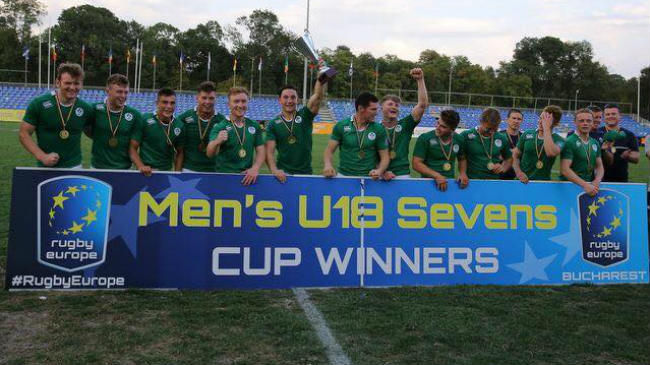 The victorious Ireland Under-18 Sevens squad