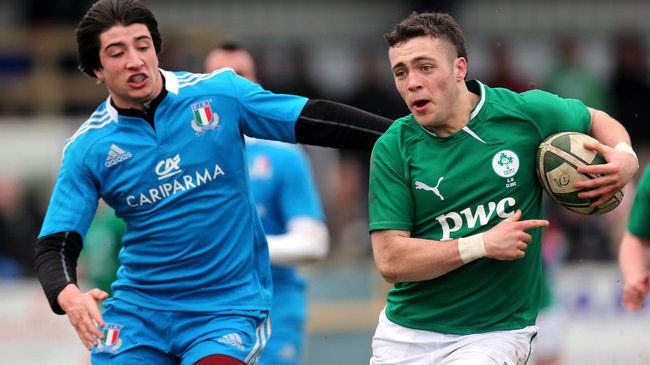 Action from last season's clash between the Ireland U-18 Clubs side and Italy