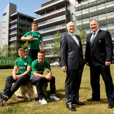 PwC's Ronan Murphy with Mike Ruddock and the Ireland Under-20 players
