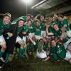 Team captain Rhys Ruddock (far left) shows his delight along with his victorious Ireland team-mates
