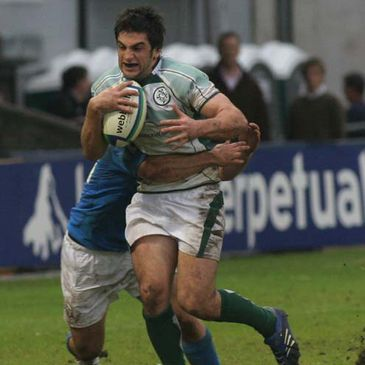 Michael Entwistle attacks for the Under-20s against Italy