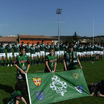 The Ireland Under-18 Clubs side line up at anthem time