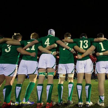 The Ireland Under-20 players line up for the anthems