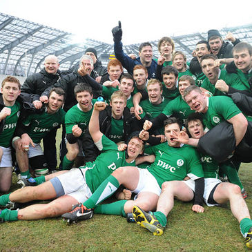 The Ireland Under-20s celebrate their victory in Grenoble