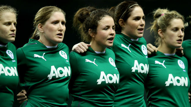 The Ireland Women at anthem time