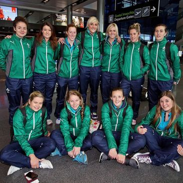 The Ireland Women's Sevens squad at Dublin Airport