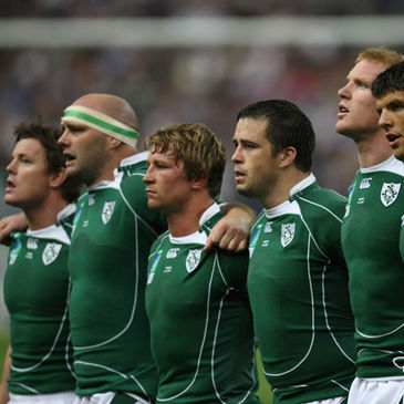 The Ireland team at anthem time against France