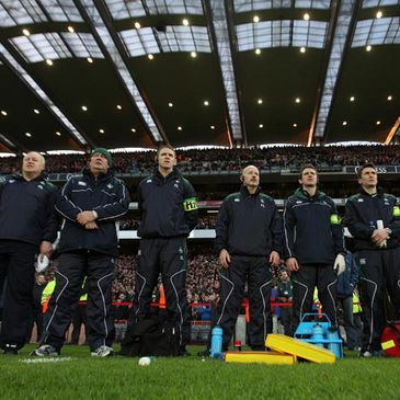 The Ireland backroom staff line up at Croke Park
