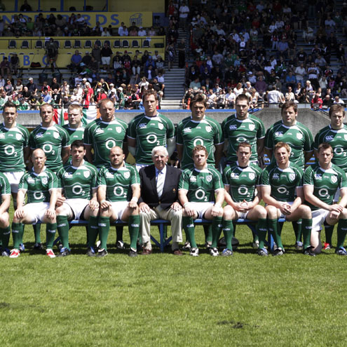IRFU President John Lyons is pictured with the Ireland team