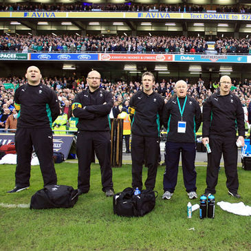 Dr. Eanna Falvey with fellow members of the Ireland backroom team