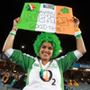 Sheila Magoye had her jersey, wig and banner prepared as kick-off approached for Ireland's second match at the 2011 Rugby World Cup
