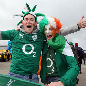 Two of the many Ireland fans who turned out at Wellington Regional Stadium