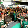 Hundreds of Ireland fans turned out in Terminal 2 of Dublin Airport to welcome home Declan Kidney, Brian O'Driscoll and members of the World Cup squad and management