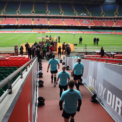 A view of the Ireland players emerging from the Millennium Stadium tunnel