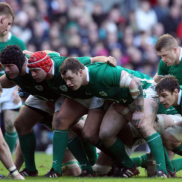 The Ireland forwards pack down for a scrum