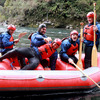 The players joked about with Donncha O'Callaghan before their rafting guide joined them for a trip along one of New Zealand's most famous rivers