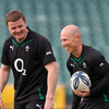 Brian O'Driscoll and Peter Stringer, with 192 Ireland caps between them, have a laugh together at Auckland's North Harbour Stadium