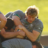Ireland winger Andrew Trimble scraps for possession as Declan Kidney's men train in the Auckland sun