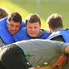 Rob Kearney and Brian O'Driscoll grimace as they battle for possession during Tuesday's training run-out