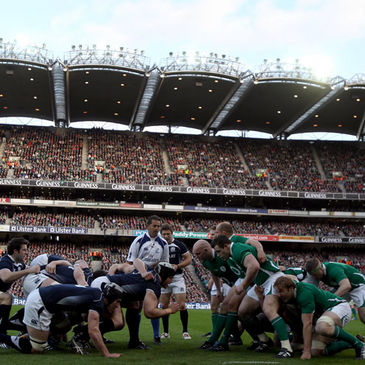 A view of a scrum between Ireland and Scotland at Croke Park
