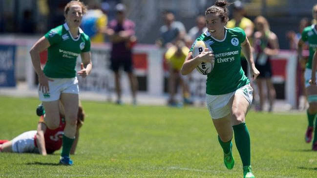 Kim Flood in action for the Ireland Sevens team